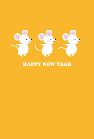 _縦型【無料】可愛い白ねずみ3匹の年賀状イラスト-JPG素材